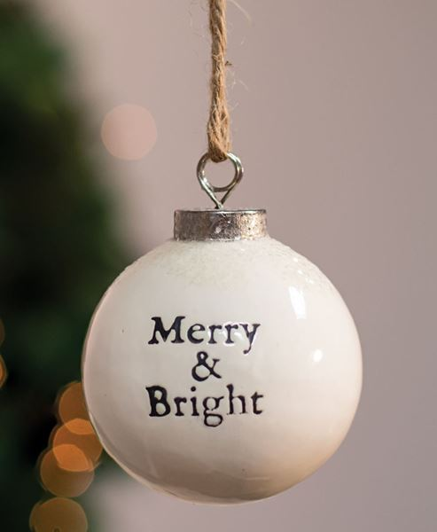 Picture of Merry and Bright White Ceramic Ornament