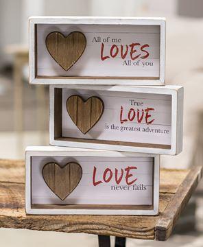 Picture of Slat Wood Heart Shadow Box, 3 Asstd.