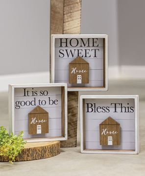 Picture of Bless This Home Shadow Box Sign, 3 asst.