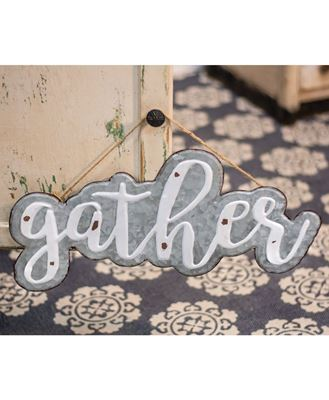 """Picture of Galvanized Metal """"Gather"""" Sign"""
