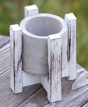 """Picture of Cement Planter w/ Distressed Wood Stand, 5"""""""