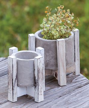 Picture of Cement Planter w/ Distressed Wood Stand, 5""