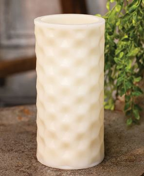 Picture of White Geometric Pillar Candle, White Light, 6""