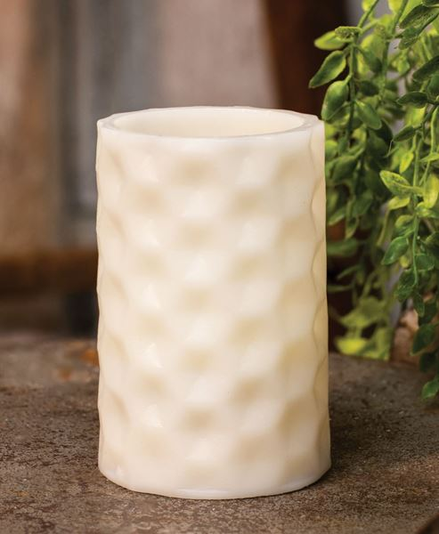 """Picture of White Geometric Pillar Candle, White Light, 4.5"""""""