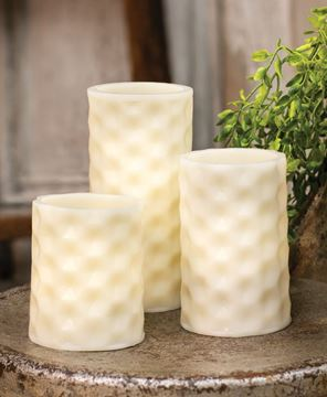 Picture of White Geometric Pillar Candle, White Light, 3.5""