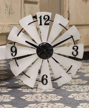 Picture of White Enamel Windmill Wall Clock, 14""