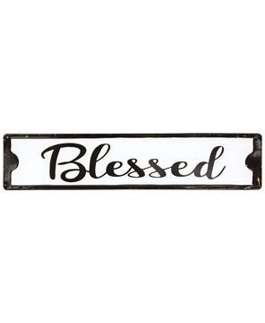 Picture of Blessed Black and White Metal Street Sign
