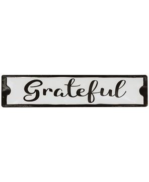 Picture of Grateful Black and White Metal Street Sign