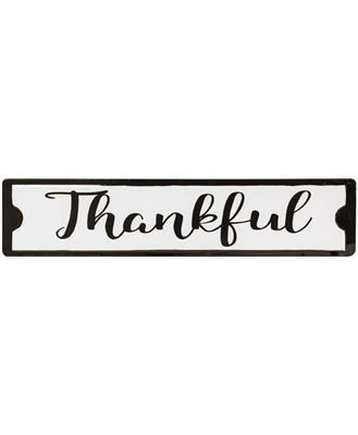 Picture of Thankful Black and White Metal Street Sign
