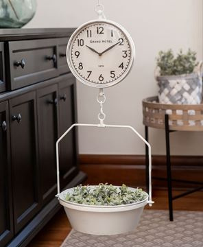 Picture of White Vintage Hanging Decorative Scale w/Clock