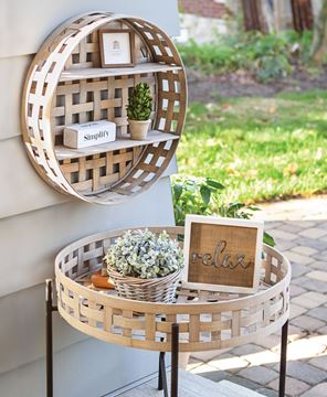 Picture of Basket Weave Two-Level Round Wall Shelf
