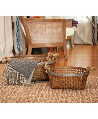 Picture of Woven Baskets w/ Jute Handle, 3/set