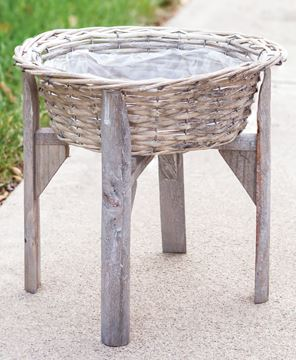 Picture of Gray Split Willow Basket Stand, Large