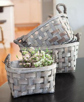 Picture of Gray Open Weave Baskets, 3/set