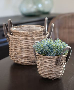 Picture of Gray Round Baskets with Handles, 3/set