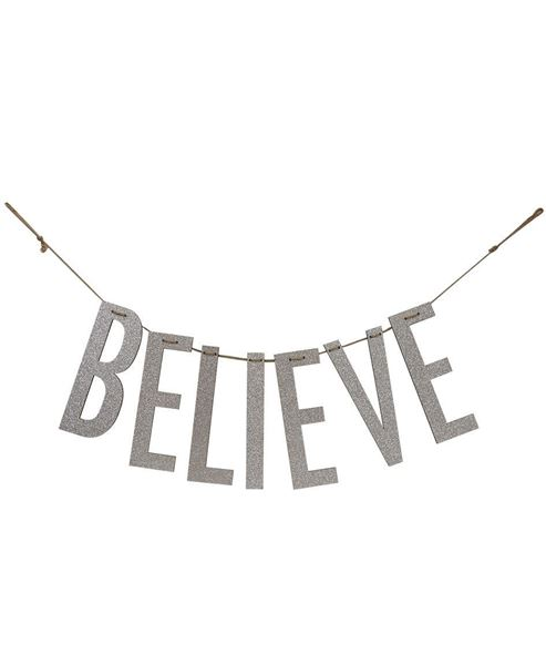"""Picture of """"Believe"""" Silver Wood Garland"""