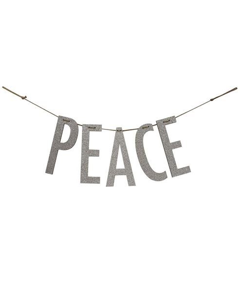"""Picture of """"Peace"""" Silver Wood Garland"""