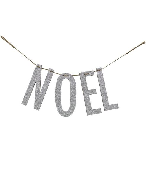 """Picture of """"Noel"""" Silver Wood Garland"""