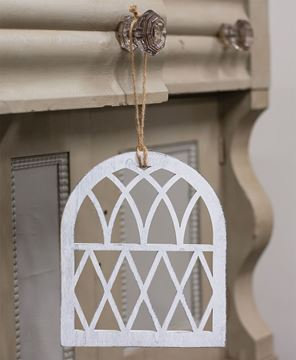 Picture of Distressed White Cathedral Window Ornament