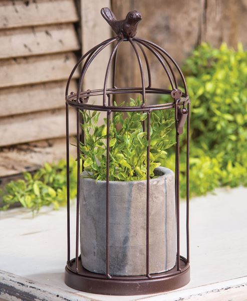 Picture of Metal Birdcage with Cement Pot