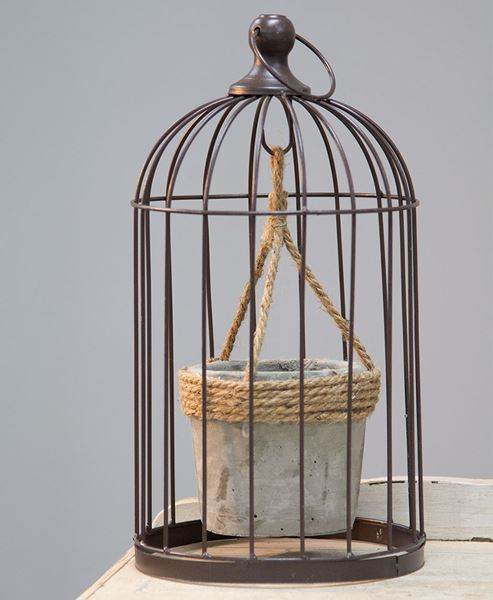 Picture of Vintaged Birdcage w/ Hanging Cement Planter, Medium