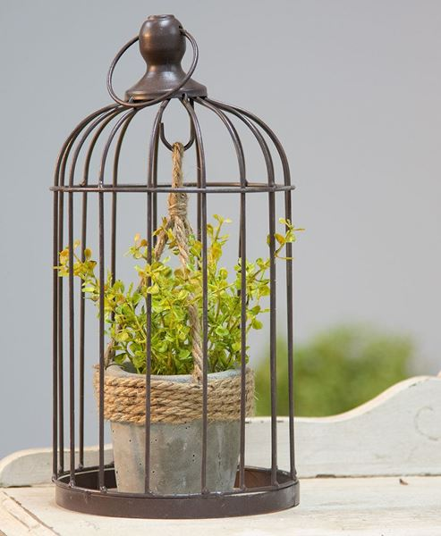 Picture of Vintaged Birdcage w/ Hanging Cement Planter, Small