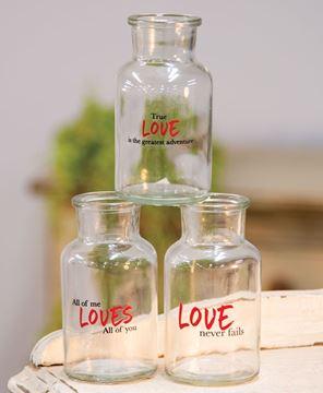 Picture of Love Never Fails Glass Bottle, 3 Asstd.
