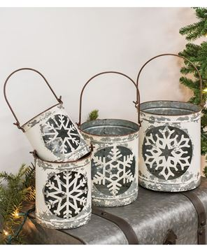 Picture of White Vintage Snowflake Buckets, 4/Set