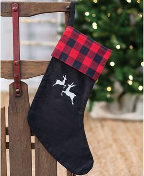 Picture of Red Buffalo Check Reindeer Stocking