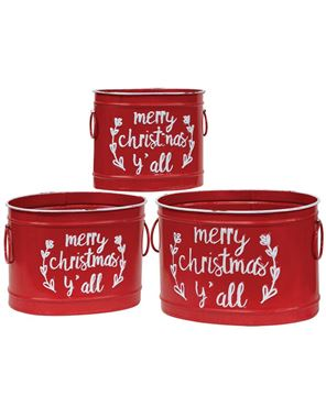Picture of Merry Christmas Y'all Buckets, 3/Set