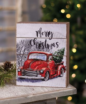 Picture of Merry Christmas Red Truck Box Sign