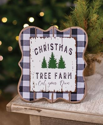 Picture of Christmas Tree Farm Buffalo Check Easel