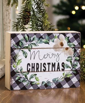 Picture of Merry Christmas Buffalo Check Box Sign