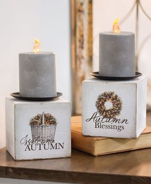 Picture of Autumn Blessings Candle Block, 2 Asst.