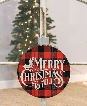 Picture of Merry Christmas Buffalo Check Ornament