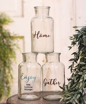 Picture of Enjoy the Little Things Glass Bottles, 3 Asstd.