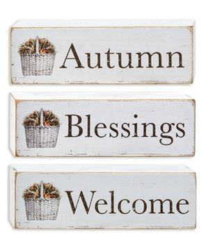 Picture of Welcome, Autumn, Blessings Block, 3 Asstd.