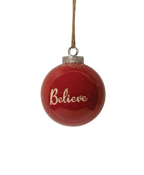 Picture of Red Ceramic Believe Ornament