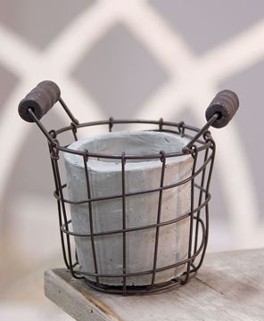 """Picture of Classic Cement Planter w/ Rustic Wire Basket 5.5"""""""