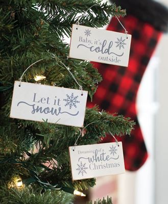Picture of White Christmas Wood Ornament, 3/Set