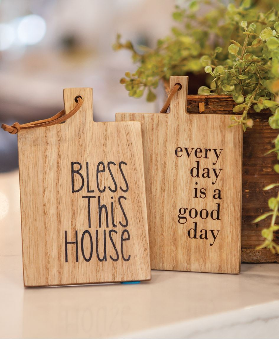 Col House Designs Wholesale Bless This House Mini Cutting Board Ornament 2 Asst Craft House Designs