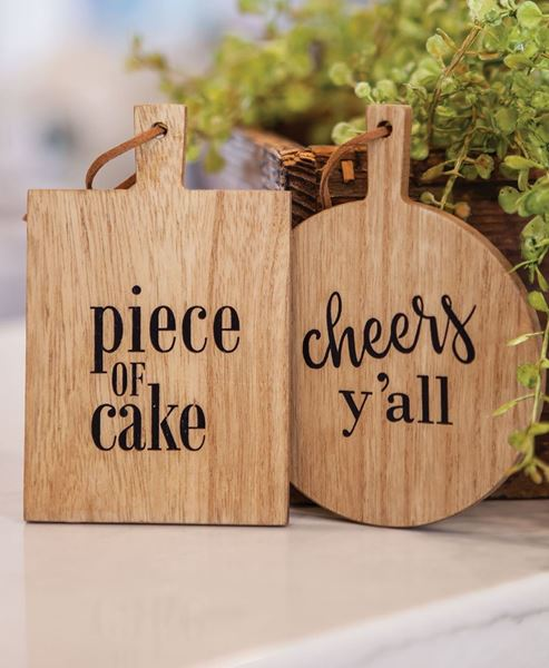 Picture of Cheers Y'all Mini Cutting Board Ornament, 2/Asst.