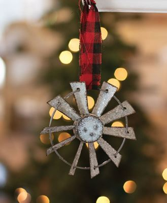 Picture of Glittered Windmill Ornament w/ Buffalo Check Hanger