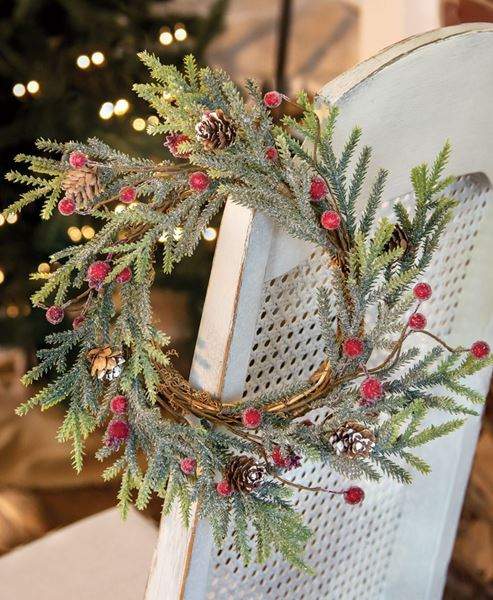 "Picture of 12"" Mountain Pine w/ Berries Wreath"