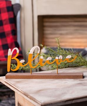 "Picture of Glittered Rust Shelf Sitter, ""Believe"""
