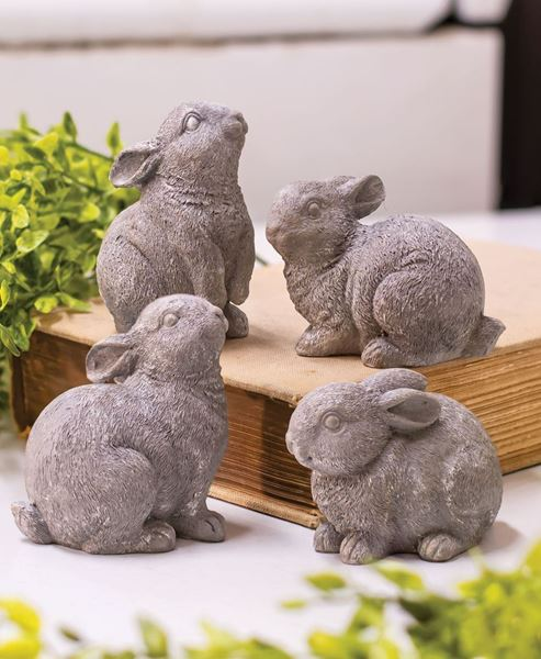 Picture of Gray Resin Bunny, 4 Asstd.