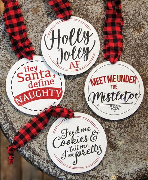 Picture of Christmas Package Round Wooden Tags, 4/set