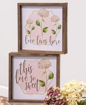 Picture of Love Lives Here Hydrangea Framed Sign, 2 Asstd.