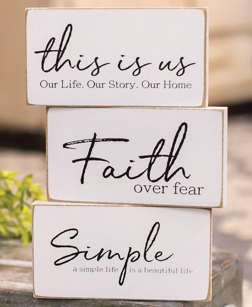 Picture of Faith Over Fear Rectangular Block, 3 asstd.