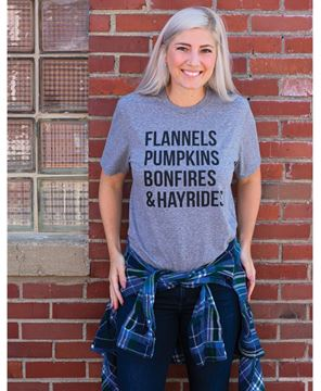 Picture of Flannels, Pumpkins, Bonfires, Hayrides Tee - XXL